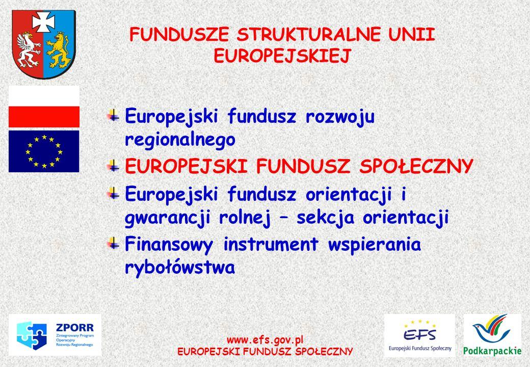 www.efs.gov.pl EUROPEJSKI FUNDUSZ SPOŁECZNY FUNDUSZE STRUKTURALNE UNII EUROPEJSKIEJ Europejski fundusz rozwoju regionalnego EUROPEJSKI FUNDUSZ SPOŁECZ