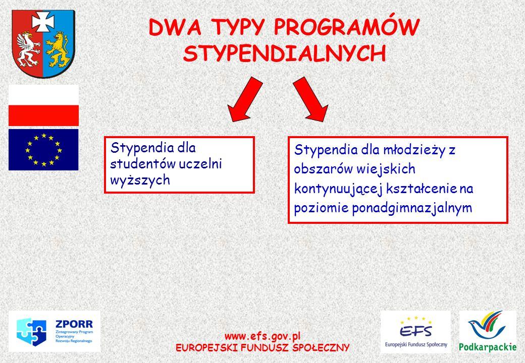 www.efs.gov.pl EUROPEJSKI FUNDUSZ SPOŁECZNY DWA TYPY PROGRAMÓW STYPENDIALNYCH Stypendia dla młodzieży z obszarów wiejskich kontynuującej kształcenie n