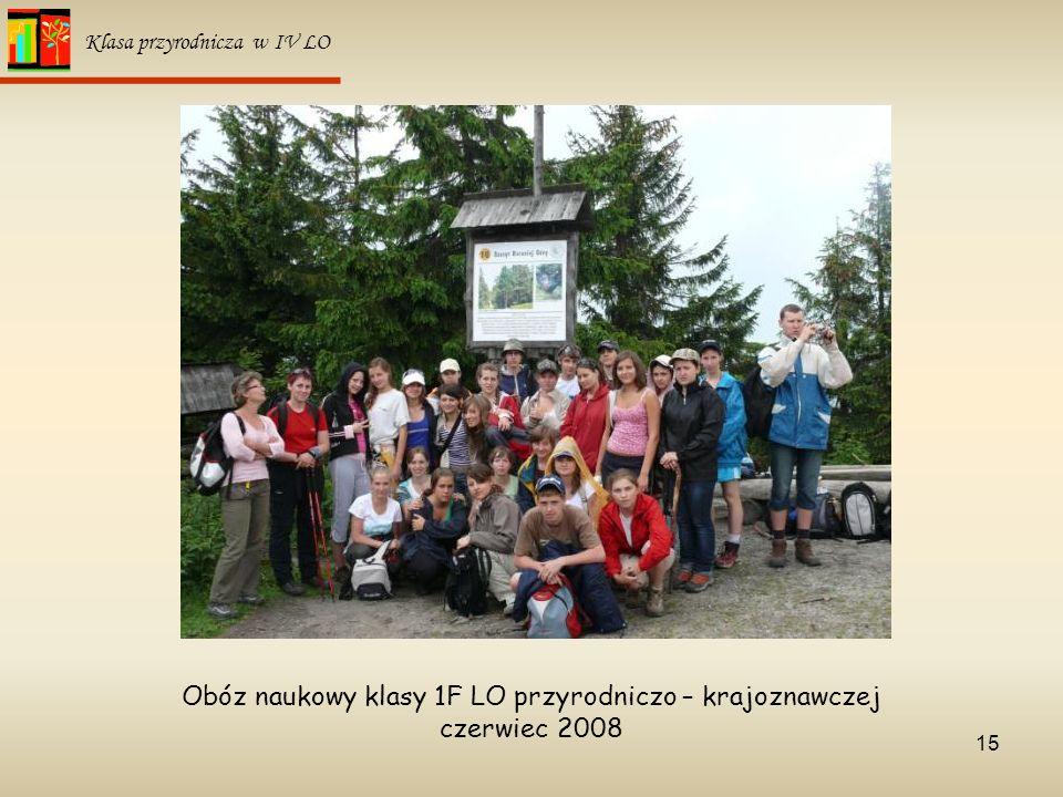 15 Klasa przyrodnicza w IV LO Obóz naukowy klasy 1F LO przyrodniczo – krajoznawczej czerwiec 2008