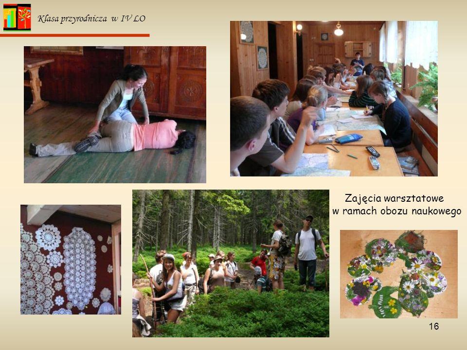 16 Klasa przyrodnicza w IV LO Zajęcia warsztatowe w ramach obozu naukowego