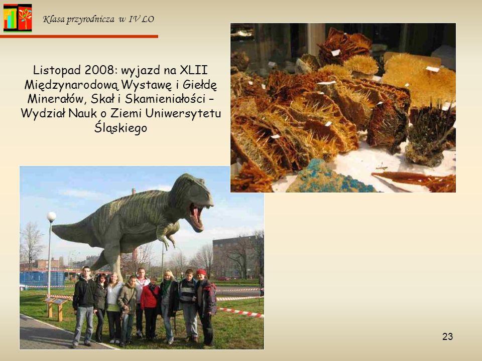 23 Klasa przyrodnicza w IV LO Listopad 2008: wyjazd na XLII Międzynarodową Wystawę i Giełdę Minerałów, Skał i Skamieniałości – Wydział Nauk o Ziemi Un