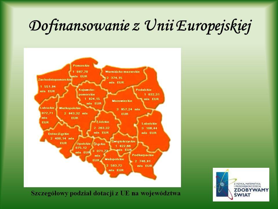 Dofinansowanie z Unii Europejskiej Szczegółowy podział dotacji z UE na województwa