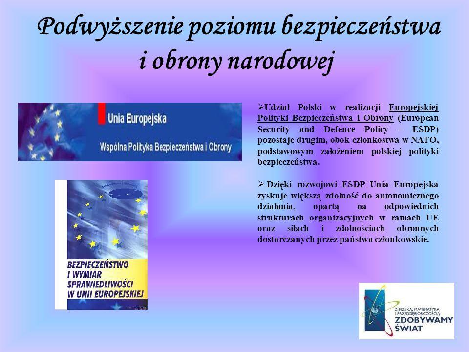 Podwyższenie poziomu bezpieczeństwa i obrony narodowej Udział Polski w realizacji Europejskiej Polityki Bezpieczeństwa i Obrony (European Security and