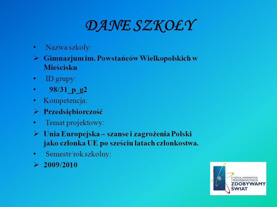 DANE SZKOŁY Nazwa szkoły: Gimnazjum im. Powstańców Wielkopolskich w Mieścisku ID grupy: 98/31_p_g2 Kompetencja: Przedsiębiorczość Temat projektowy: Un