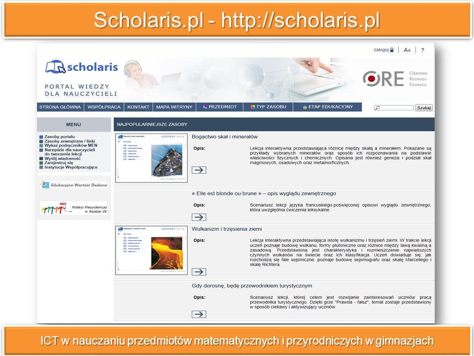 Nauczyciel.pl - http://nauczyciel.pl ICT w nauczaniu przedmiotów matematycznych i przyrodniczych w gimnazjach Zasoby edukacyjne YDP