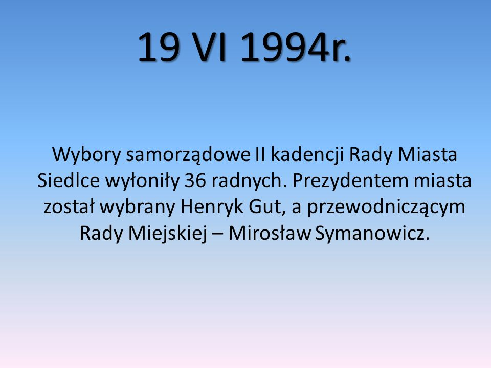11 X 1998r.W trzecich wyborach samorządowych wybrano 36 radnych.