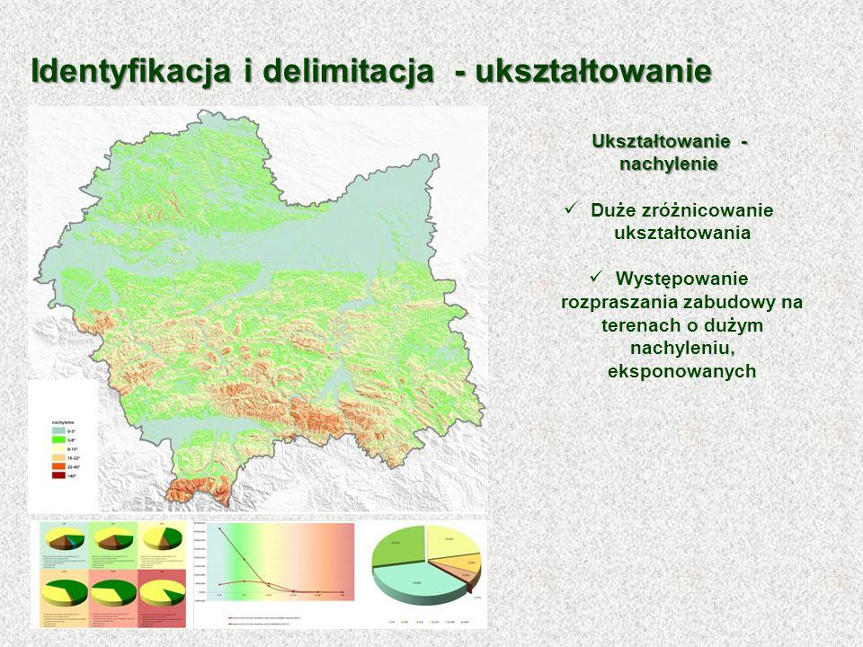 Ukształtowanie - nachylenie Duże zróżnicowanie ukształtowania Występowanie rozpraszania zabudowy na terenach o dużym nachyleniu, eksponowanych Identyf