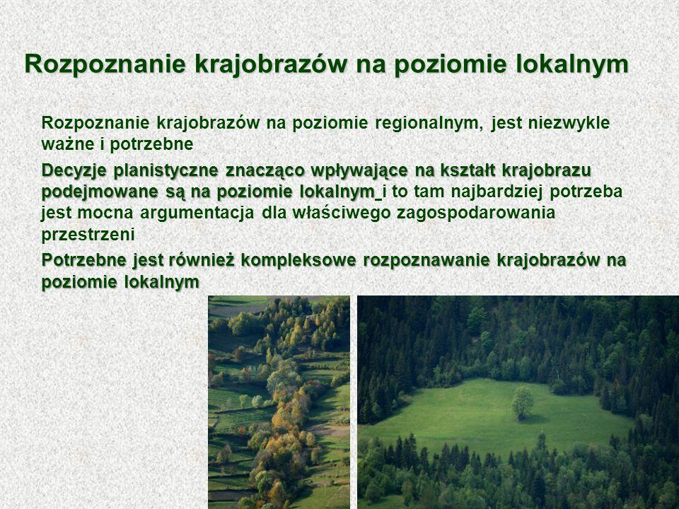 Rozpoznanie krajobrazów na poziomie regionalnym, jest niezwykle ważne i potrzebne Decyzje planistyczne znacząco wpływające na kształt krajobrazu podej