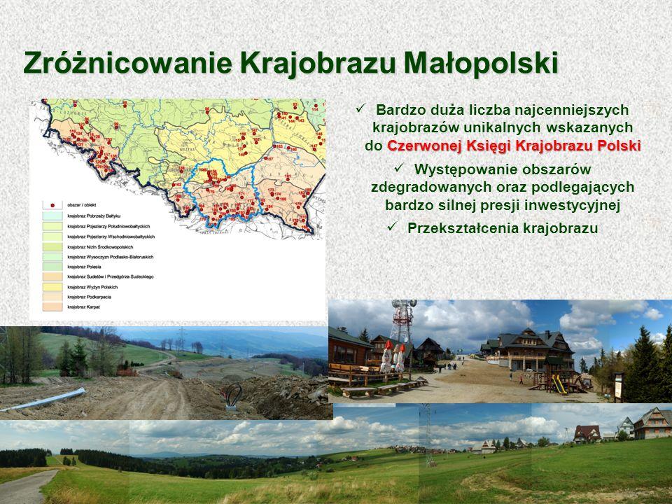 Czerwonej Księgi Krajobrazu Polski Bardzo duża liczba najcenniejszych krajobrazów unikalnych wskazanych do Czerwonej Księgi Krajobrazu Polski Występow