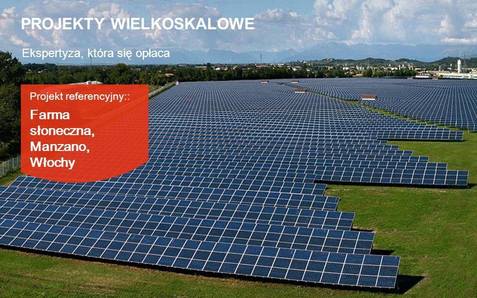 Projekt referencyjny:: Farma słoneczna, Manzano, Włochy Ekspertyza, która się opłaca PROJEKTY WIELKOSKALOWE