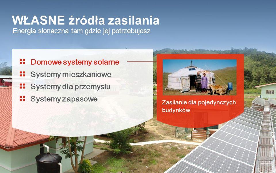 Energia słonaczna tam gdzie jej potrzebujesz WŁASNE źródła zasilania Domowe systemy solarne Systemy mieszkaniowe Systemy dla przemysłu Systemy zapasow