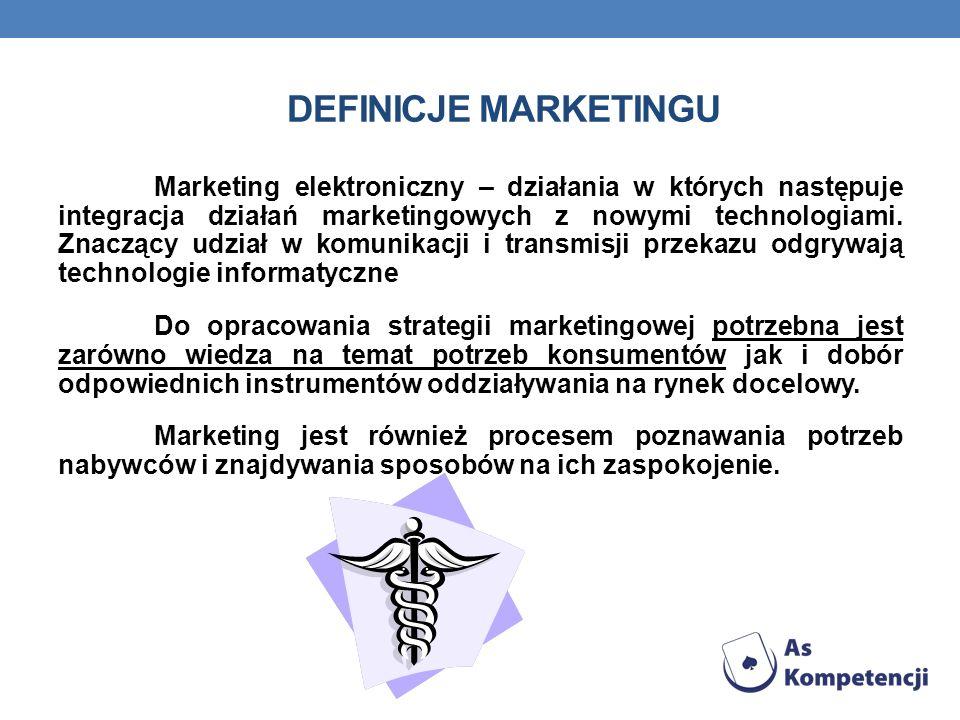 Marketing elektroniczny – działania w których następuje integracja działań marketingowych z nowymi technologiami.