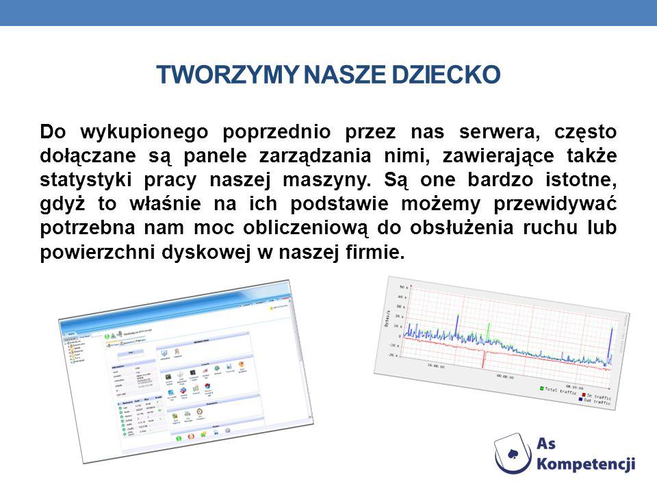 TWORZYMY NASZE DZIECKO Do wykupionego poprzednio przez nas serwera, często dołączane są panele zarządzania nimi, zawierające także statystyki pracy naszej maszyny.