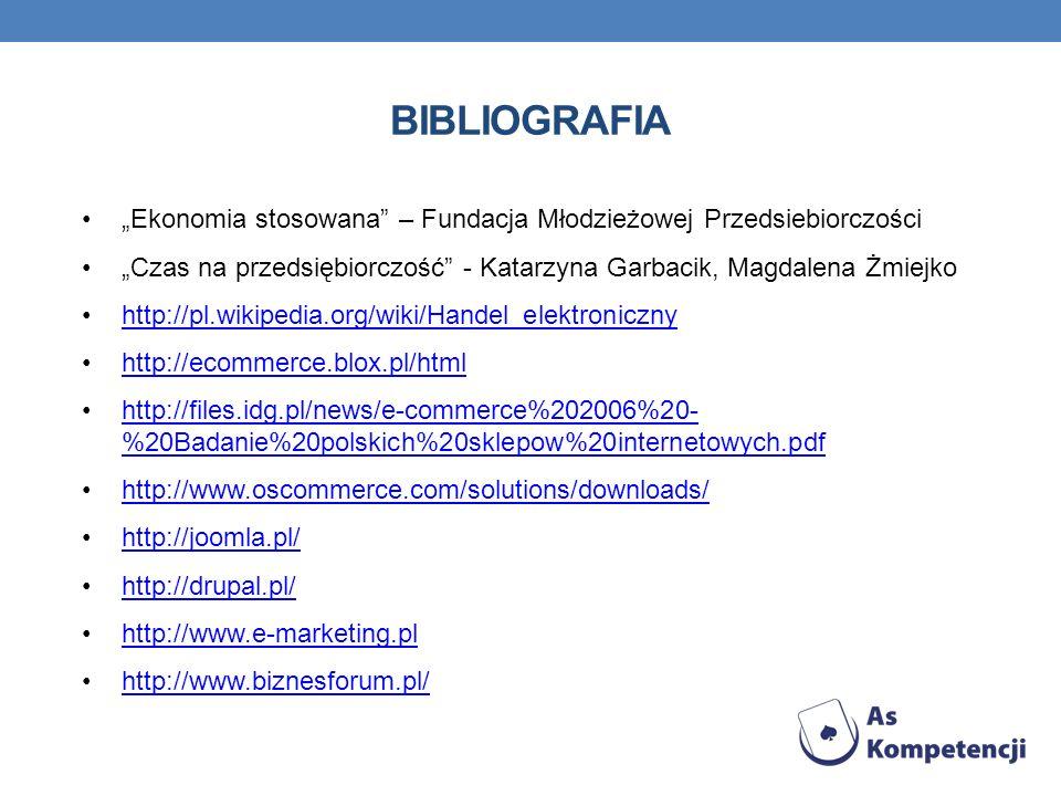 BIBLIOGRAFIA Ekonomia stosowana – Fundacja Młodzieżowej Przedsiebiorczości Czas na przedsiębiorczość - Katarzyna Garbacik, Magdalena Żmiejko http://pl.wikipedia.org/wiki/Handel_elektroniczny http://ecommerce.blox.pl/html http://files.idg.pl/news/e-commerce%202006%20- %20Badanie%20polskich%20sklepow%20internetowych.pdfhttp://files.idg.pl/news/e-commerce%202006%20- %20Badanie%20polskich%20sklepow%20internetowych.pdf http://www.oscommerce.com/solutions/downloads/ http://joomla.pl/ http://drupal.pl/ http://www.e-marketing.pl http://www.biznesforum.pl/