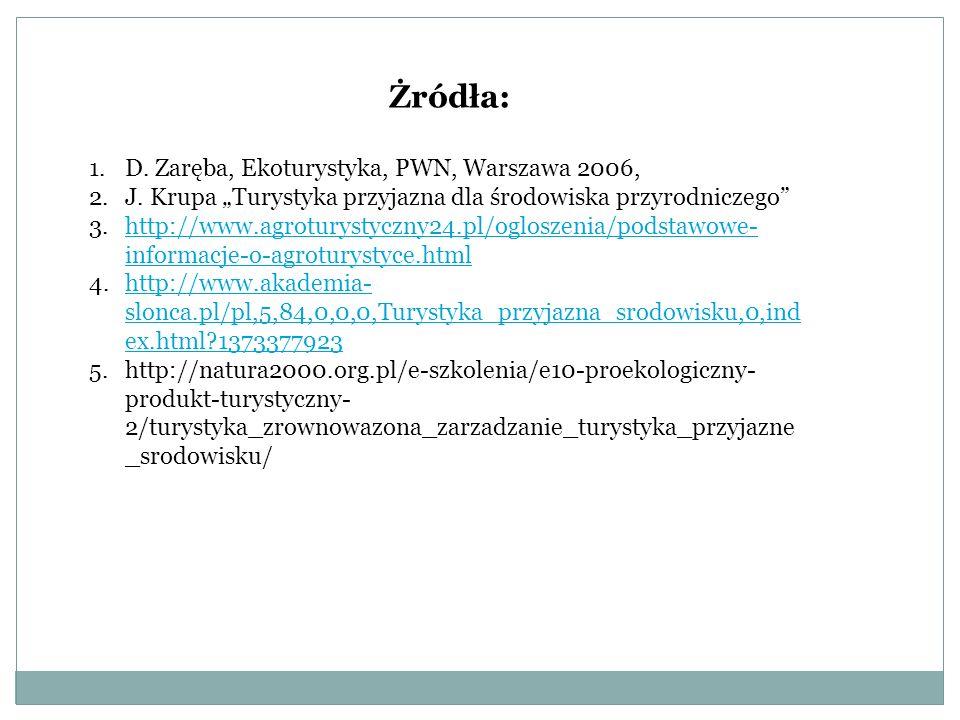 Żródła: 1.D.Zaręba, Ekoturystyka, PWN, Warszawa 2006, 2.J.