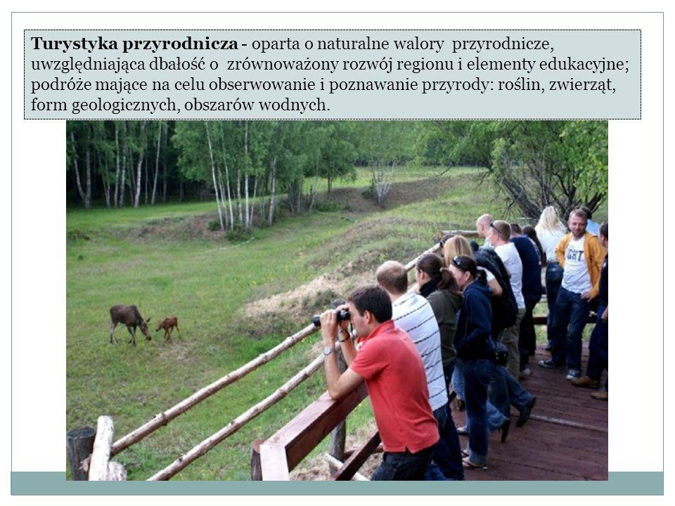 Turystyka przyrodnicza - oparta o naturalne walory przyrodnicze, uwzględniająca dbałość o zrównoważony rozwój regionu i elementy edukacyjne; podróże mające na celu obserwowanie i poznawanie przyrody: roślin, zwierząt, form geologicznych, obszarów wodnych.