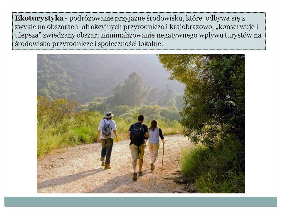 Ekoturystyka - podróżowanie przyjazne środowisku, które odbywa się z zwykle na obszarach atrakcyjnych przyrodniczo i krajobrazowo, konserwuje i ulepsza zwiedzany obszar; minimalizowanie negatywnego wpływu turystów na środowisko przyrodnicze i społeczności lokalne.
