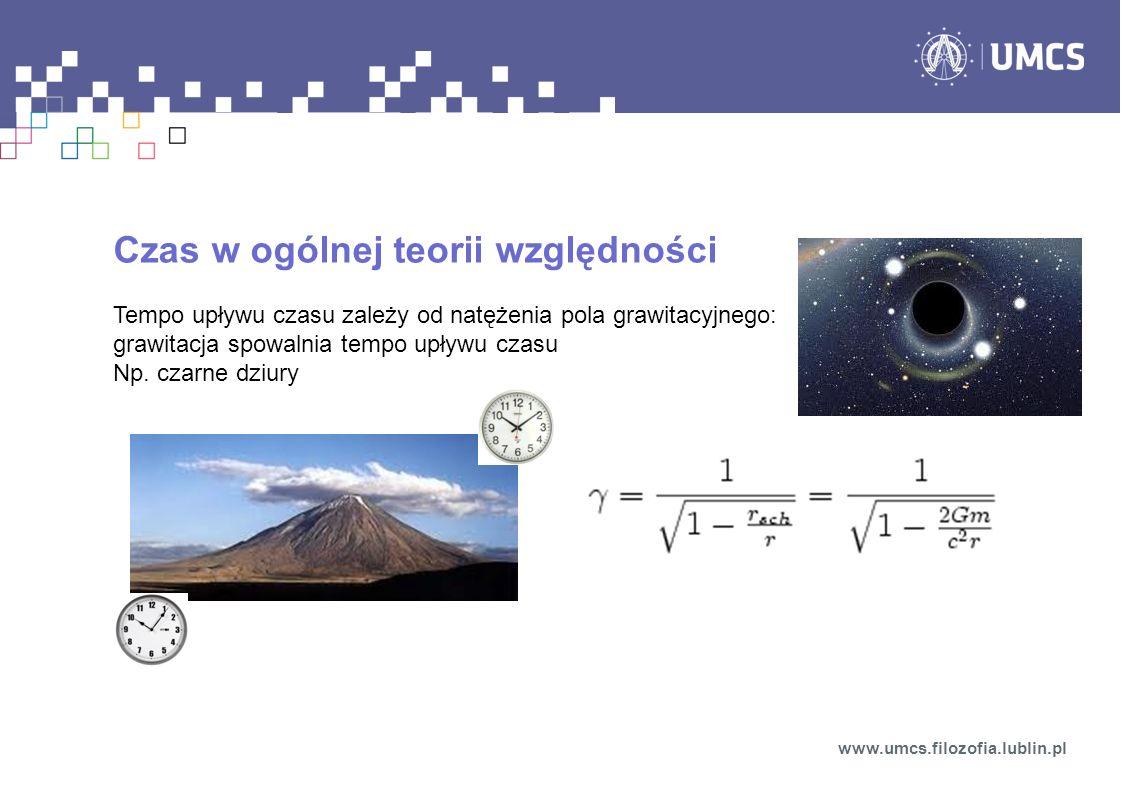 Czas w ogólnej teorii względności Tempo upływu czasu zależy od natężenia pola grawitacyjnego: grawitacja spowalnia tempo upływu czasu Np. czarne dziur