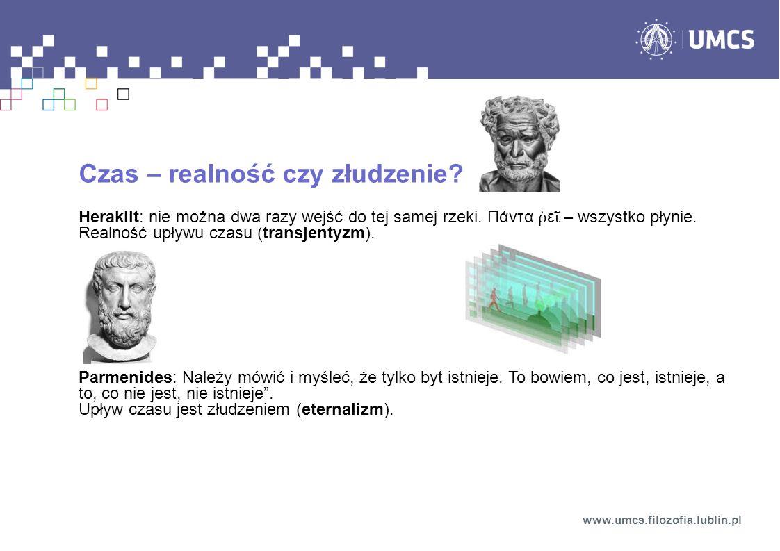 Czasoprzestrzeń STW – powiązanie czasu i przestrzeni w czterowymiarową czasoprzestrzeń Minkowskiego zdarzenia Z (x, y, z, t) Interwał czasoprzestrzenny ds 2 > 0 – interwał czasowy ds 2 = 0 – interwał zerowy ds 2 < 0 – interwał przestrzenny (gdzie indziej): zdarzenia nie mogą być połączone związkiem przyczynowo-skutkowym) www.umcs.filozofia.lublin.pl