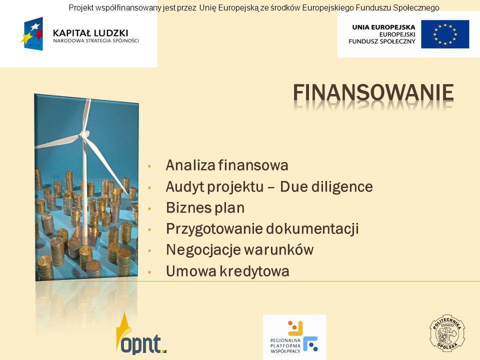Analiza finansowa Audyt projektu – Due diligence Biznes plan Przygotowanie dokumentacji Negocjacje warunków Umowa kredytowa Projekt współfinansowany j