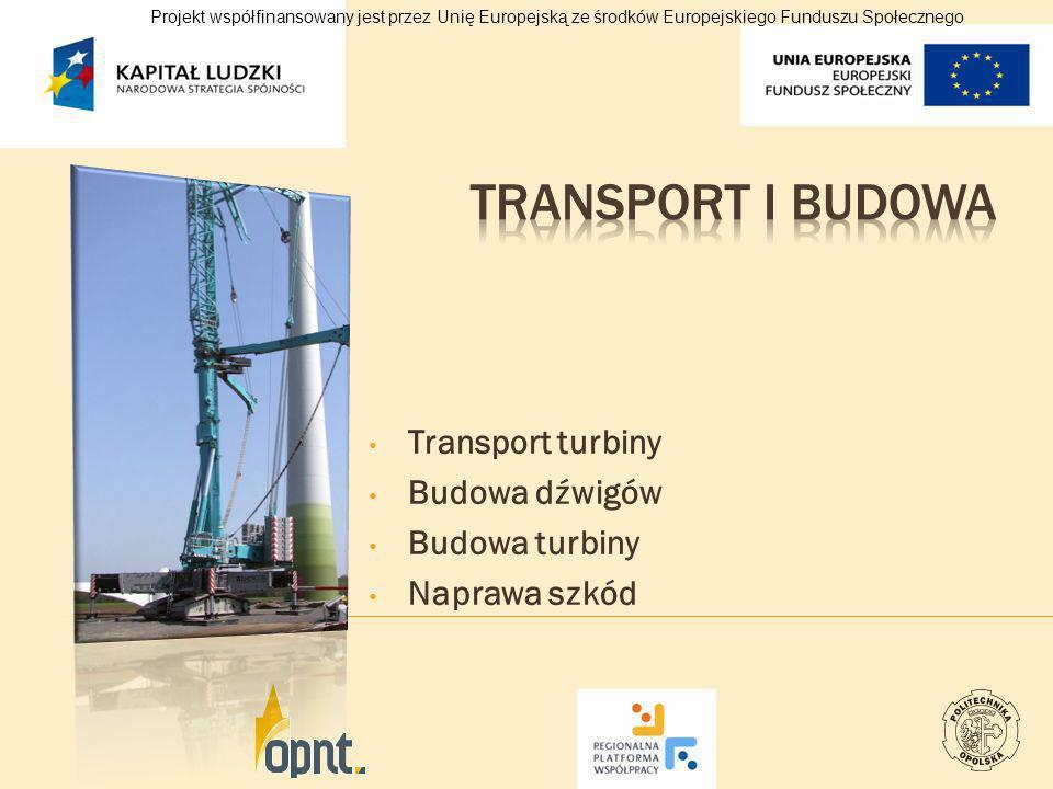 Transport turbiny Budowa dźwigów Budowa turbiny Naprawa szkód Projekt współfinansowany jest przez Unię Europejską ze środków Europejskiego Funduszu Sp