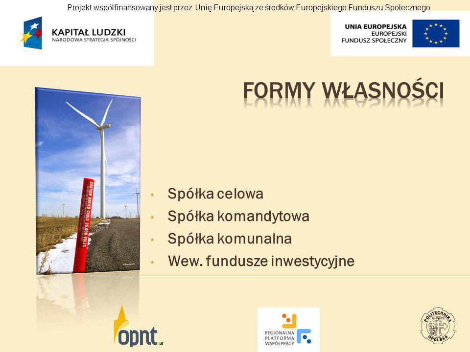 Spółka celowa Spółka komandytowa Spółka komunalna Wew. fundusze inwestycyjne Projekt współfinansowany jest przez Unię Europejską ze środków Europejski