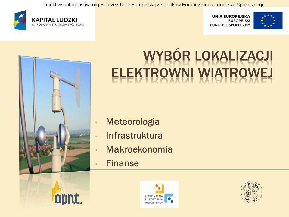 Meteorologia Infrastruktura Makroekonomia Finanse Projekt współfinansowany jest przez Unię Europejską ze środków Europejskiego Funduszu Społecznego