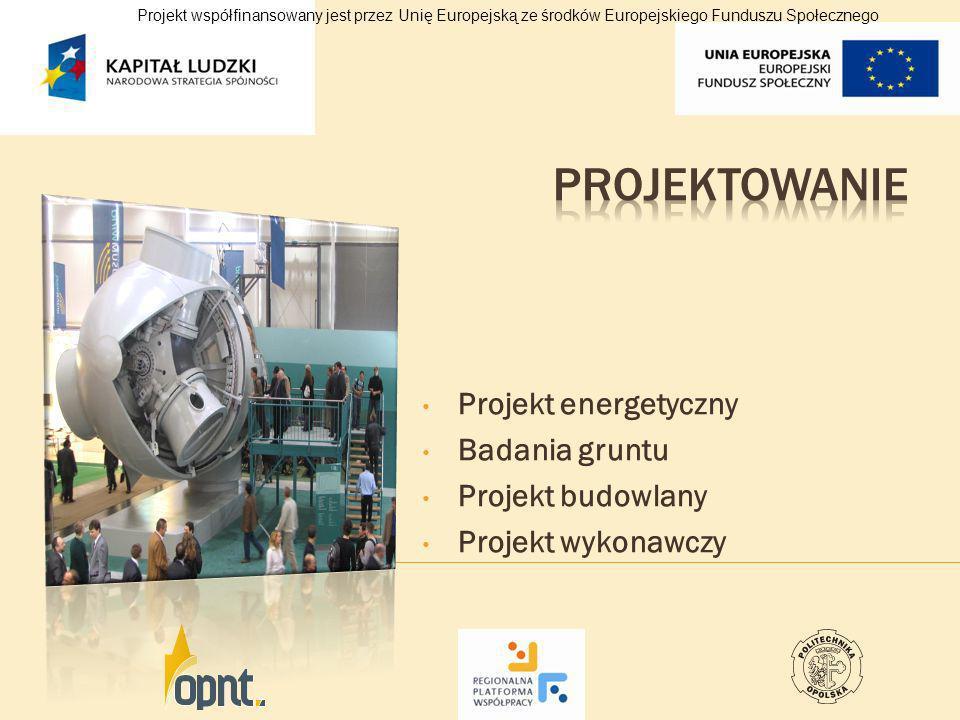 Projekt energetyczny Badania gruntu Projekt budowlany Projekt wykonawczy Projekt współfinansowany jest przez Unię Europejską ze środków Europejskiego