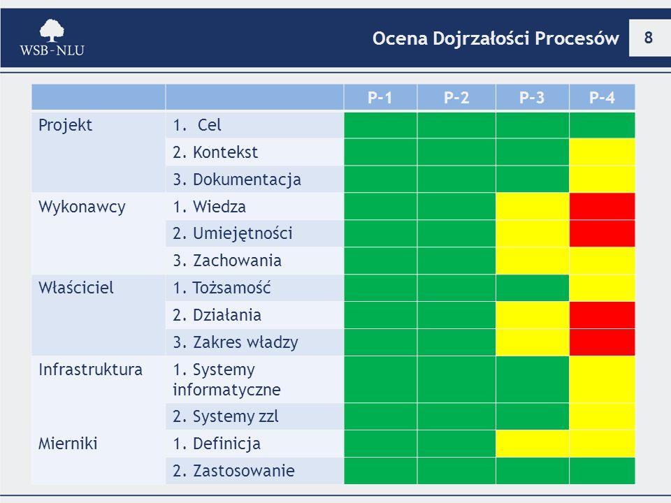 8 Ocena Dojrzałości Procesów P-1P-2P-3P-4 Projekt1.Cel 2. Kontekst 3. Dokumentacja Wykonawcy1. Wiedza 2. Umiejętności 3. Zachowania Właściciel1. Tożsa