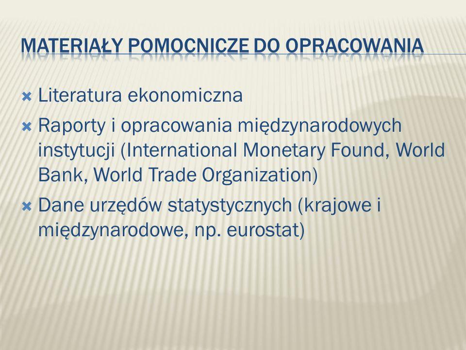 Literatura ekonomiczna Raporty i opracowania międzynarodowych instytucji (International Monetary Found, World Bank, World Trade Organization) Dane urz