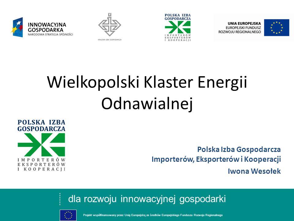 dla rozwoju innowacyjnej gospodarki Projekt współfinansowany przez Unię Europejską ze środków Europejskiego Funduszu Rozwoju Regionalnego Geneza powstania: Wiosną 2008 podjęte zostały przez Polską Izbę Gospodarczą Importerów, Eksporterów i Kooperacji działania związane z zainicjowaniem Wielkopolskiej Innowacyjnej Sieci Kooperacji, w ramach której tworzone są klastry w branżach: budowlanej, spożywczej, metalowej, motoryzacyjnej oraz energii odnawialnej.