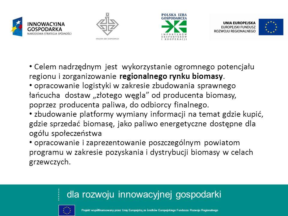 dla rozwoju innowacyjnej gospodarki Projekt współfinansowany przez Unię Europejską ze środków Europejskiego Funduszu Rozwoju Regionalnego Celem nadrzę
