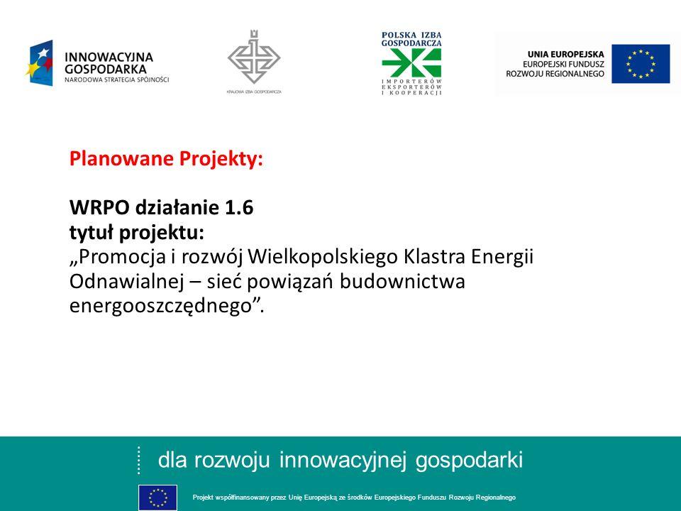dla rozwoju innowacyjnej gospodarki Projekt współfinansowany przez Unię Europejską ze środków Europejskiego Funduszu Rozwoju Regionalnego Planowane Projekty: WRPO działanie 1.6 tytuł projektu: Promocja i rozwój Wielkopolskiego Klastra Energii Odnawialnej – sieć powiązań budownictwa energooszczędnego.