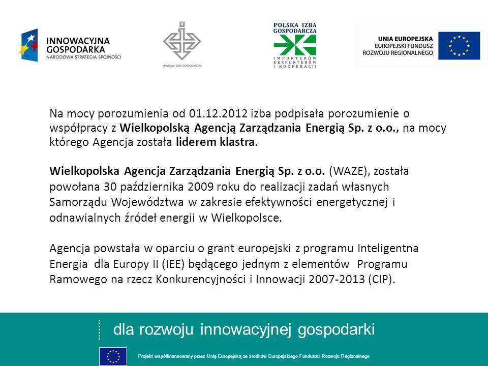 dla rozwoju innowacyjnej gospodarki Projekt współfinansowany przez Unię Europejską ze środków Europejskiego Funduszu Rozwoju Regionalnego Na mocy poro