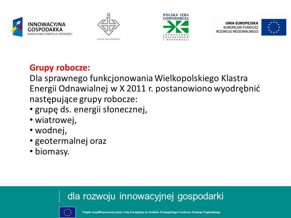 dla rozwoju innowacyjnej gospodarki Projekt współfinansowany przez Unię Europejską ze środków Europejskiego Funduszu Rozwoju Regionalnego Grupy robocz