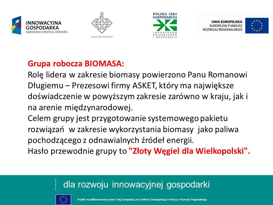 dla rozwoju innowacyjnej gospodarki Projekt współfinansowany przez Unię Europejską ze środków Europejskiego Funduszu Rozwoju Regionalnego Grupa robocza BIOMASA: Rolę lidera w zakresie biomasy powierzono Panu Romanowi Długiemu – Prezesowi firmy ASKET, który ma największe doświadczenie w powyższym zakresie zarówno w kraju, jak i na arenie międzynarodowej.