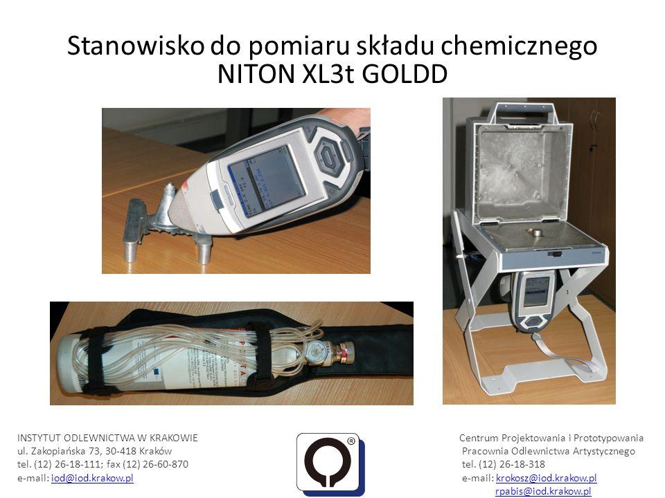 Stanowisko do pomiaru składu chemicznego NITON XL3t GOLDD INSTYTUT ODLEWNICTWA W KRAKOWIE Centrum Projektowania i Prototypowania ul. Zakopiańska 73, 3