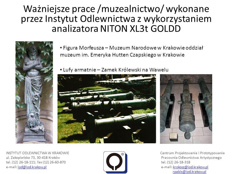 Ważniejsze prace /muzealnictwo/ wykonane przez Instytut Odlewnictwa z wykorzystaniem analizatora NITON XL3t GOLDD Eksponaty w Muzeum PTTK im.
