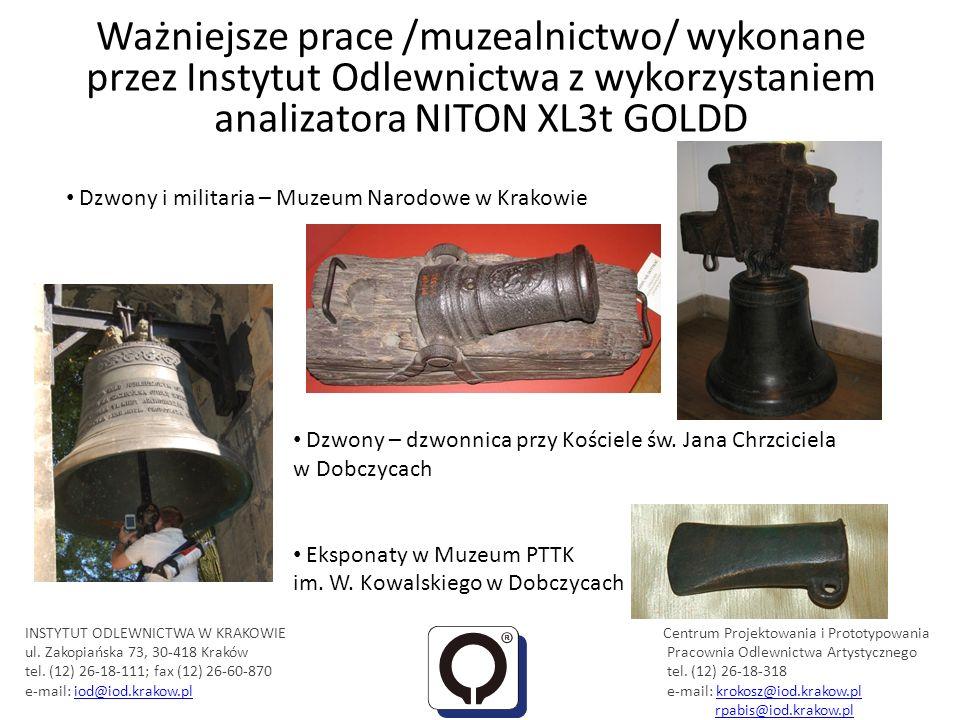 Ważniejsze prace /muzealnictwo/ wykonane przez Instytut Odlewnictwa z wykorzystaniem analizatora NITON XL3t GOLDD Eksponaty w Muzeum PTTK im. W. Kowal