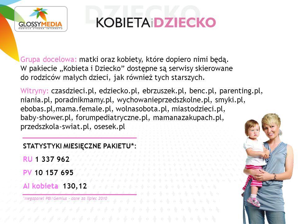STATYSTYKI MIESIĘCZNE PAKIETU*: RU 1 337 962 PV 10 157 695 AI kobieta 130,12 Grupa docelowa: matki oraz kobiety, które dopiero nimi będą.