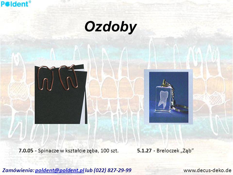 Ozdoby www.decus-deko.de 5.1.27 - Breloczek Ząb7.0.05 - Spinacze w kształcie zęba, 100 szt. Zamówienia: poldent@poldent.pl lub (022) 827-29-99poldent@