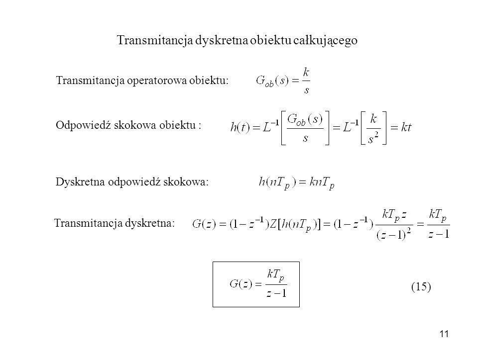 11 Transmitancja dyskretna obiektu całkującego Transmitancja operatorowa obiektu: Odpowiedź skokowa obiektu : Dyskretna odpowiedź skokowa: Transmitanc