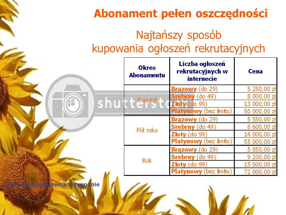 Abonament pełen oszczędności Najtańszy sposób kupowania ogłoszeń rekrutacyjnych Czas emisji ogłoszenia: 4 tygodnie