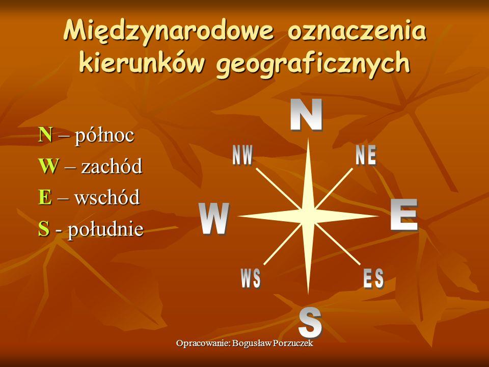 Opracowanie: Bogusław Porzuczek Międzynarodowe oznaczenia kierunków geograficznych N – północ W – zachód E – wschód S - południe