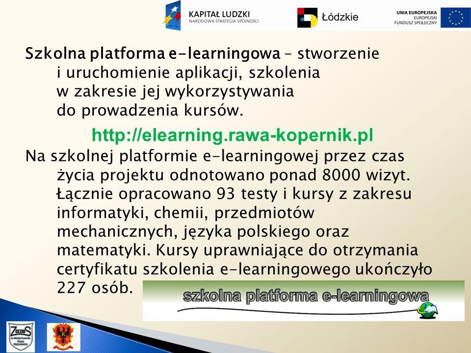 Szkolna platforma e-learningowa – stworzenie i uruchomienie aplikacji, szkolenia w zakresie jej wykorzystywania do prowadzenia kursów. http://elearnin