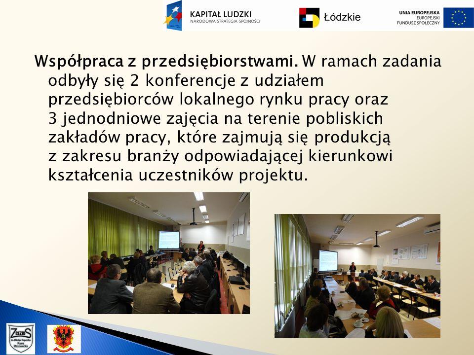 Współpraca z przedsiębiorstwami. W ramach zadania odbyły się 2 konferencje z udziałem przedsiębiorców lokalnego rynku pracy oraz 3 jednodniowe zajęcia