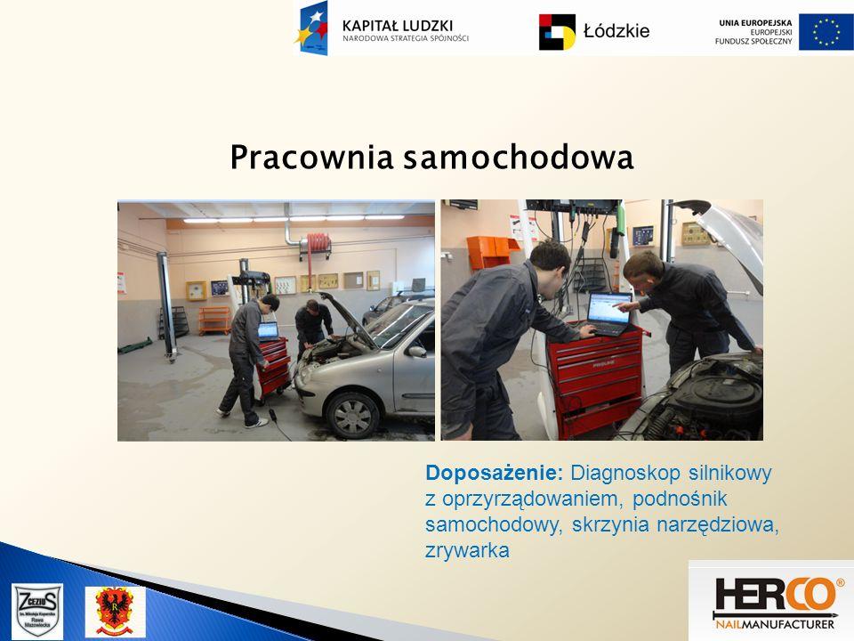 Pracownia samochodowa Doposażenie: Diagnoskop silnikowy z oprzyrządowaniem, podnośnik samochodowy, skrzynia narzędziowa, zrywarka