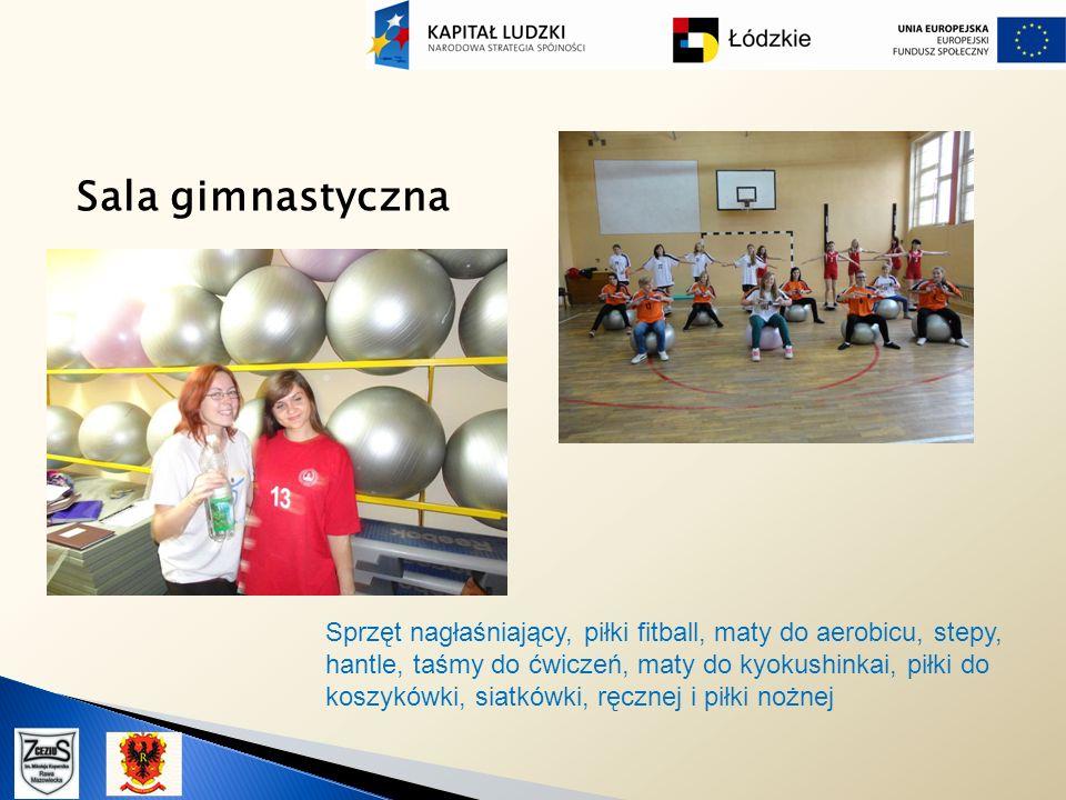Sala gimnastyczna Sprzęt nagłaśniający, piłki fitball, maty do aerobicu, stepy, hantle, taśmy do ćwiczeń, maty do kyokushinkai, piłki do koszykówki, s