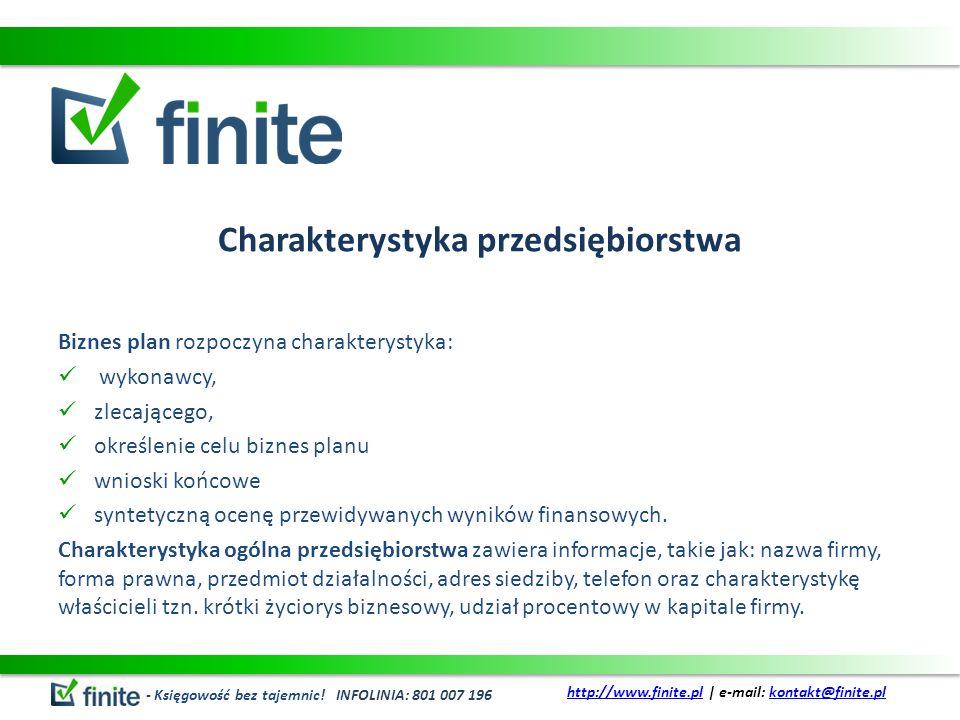 Charakterystyka przedsiębiorstwa Biznes plan rozpoczyna charakterystyka: wykonawcy, zlecającego, określenie celu biznes planu wnioski końcowe syntetyc