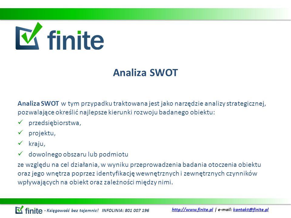 Analiza SWOT Analiza SWOT w tym przypadku traktowana jest jako narzędzie analizy strategicznej, pozwalające określić najlepsze kierunki rozwoju badane